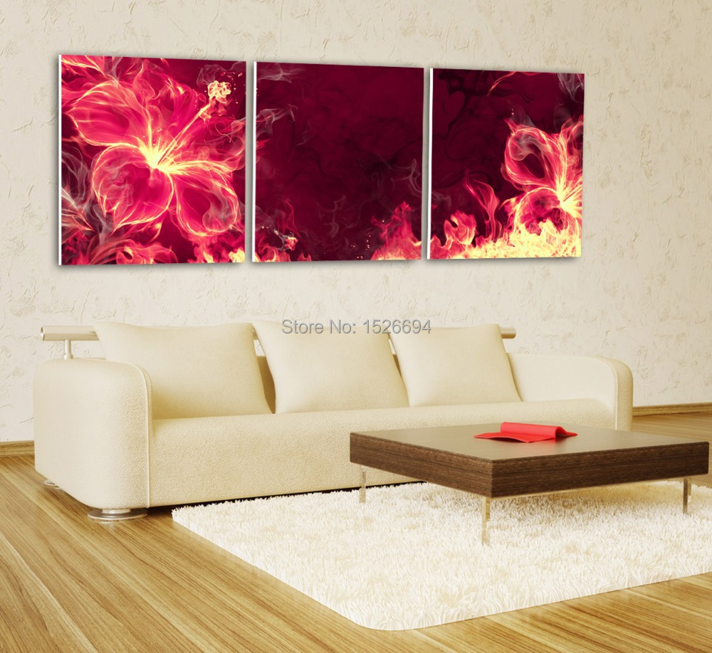 2015 3 piece modern art prints sale posters and prints New the burning hot heart pictures print on canvas(China (Mainland))
