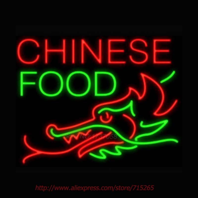 Chinese Food Dragon Bottom Neon Sign Store Display Neon Bulbs Real Glass Tube Recreation Room advertisement Personalized 30x24(China (Mainland))