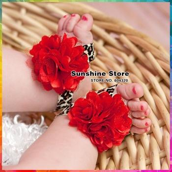 baby cheetah print shoes girls barefoot sandals;Newborn red satin mesh prewalker shoes infant #2B2067 10 pair/lot (leopard)