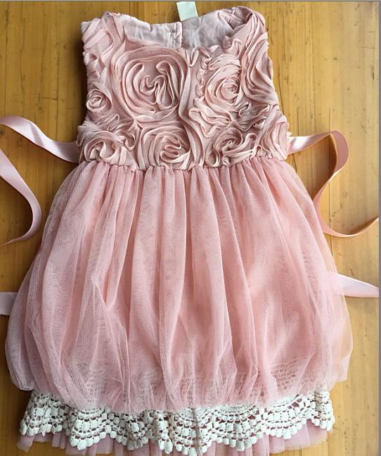 Fashion Girl Summer Lantern Lace Rose Dress Kids Clothes Wholesale 5pcs/lot Most Country Free Shipping(China (Mainland))
