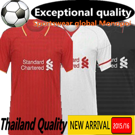15/16 football shirt Balotelli JERSEY2016 sterling LIVERPOOL 1516 Coutinho GERRARD Sturridge far red and black(China (Mainland))