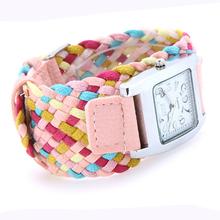 Nueva promoción Pink cuarzo de moda de corea de la cuerda trenzada PU cordón de cuero pulsera de señora reloj de pulsera del deporte
