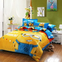 100%cotton minion bed linen kids bedding sets pink bedspreads cartoon bedclothes duvet cover set bed sheets king queen twin size(China (Mainland))