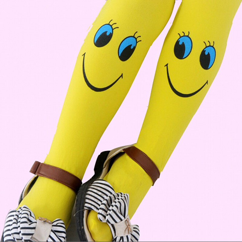 2015 Autumn velvet smiley Pattern Good quality Kids tights for girls children tights 3-8 year girls tights(China (Mainland))