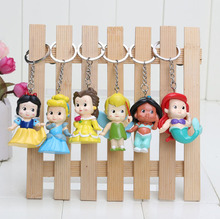 Princess 6pcs 6cm PVC Princess Keychain Tinkerbell Mermaid doll toy Collection Figure Key Chain(China (Mainland))