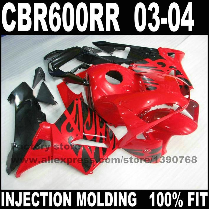 ABS Injection Moto parts for 2003 2004 HONDA CBR 600 F5 fairings kits CBR 600 RR CBR600 RR 03 04 red black fairing set bodykits(China (Mainland))