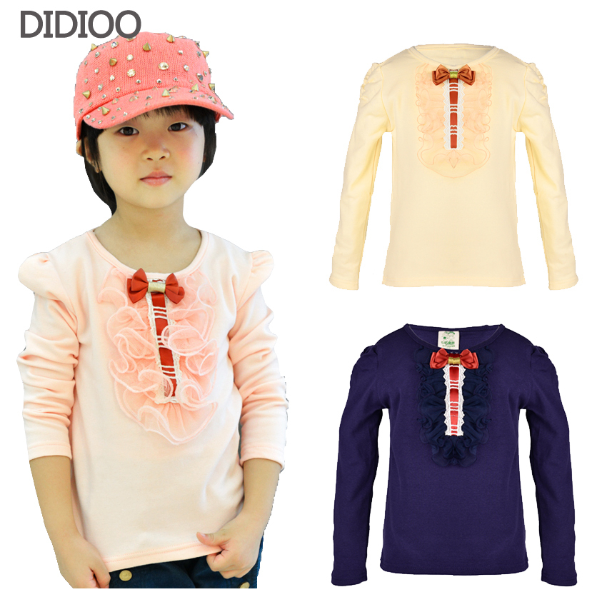 children t shirts for girls 2015 spring & autumn big kids clothes lace flower child tops long sleeve girl tees cotton tshirt(China (Mainland))