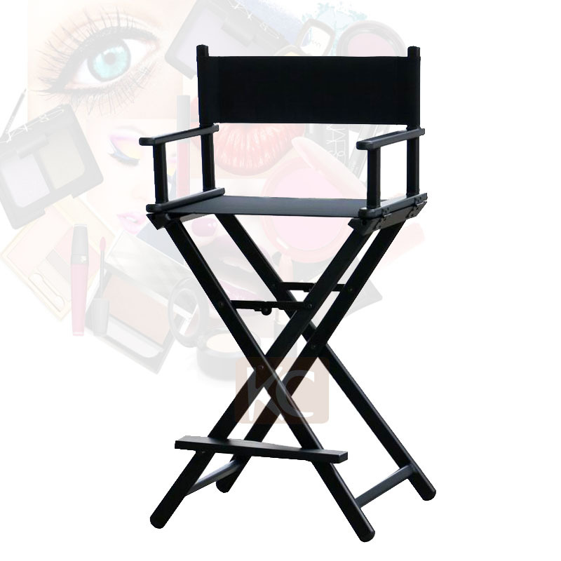 Folding Aluminum Director Chair Portable Makeup Chair Silver Black Color Ava