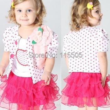 2014 Sale Baby Girls Clothing Set Children set kids suits yarn skirt halter coat  jacket + shirt+skirt 3pcs dot heart tutu dress