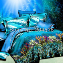 aqua blue ocean Coral reefs cheap 3d oil print bedding set bedclothes queen full double bed sheets and pillowcase(China (Mainland))
