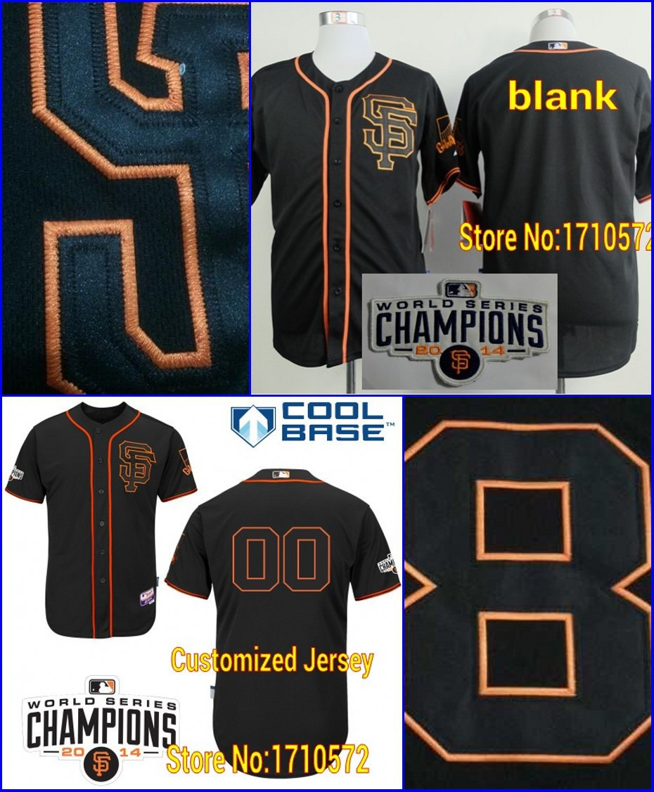 2015 Newest Custom SF San Francisco Giants Authentic Blank Personalized Alternate Jerseys with 2014 World Series Champions Patch(China (Mainland))