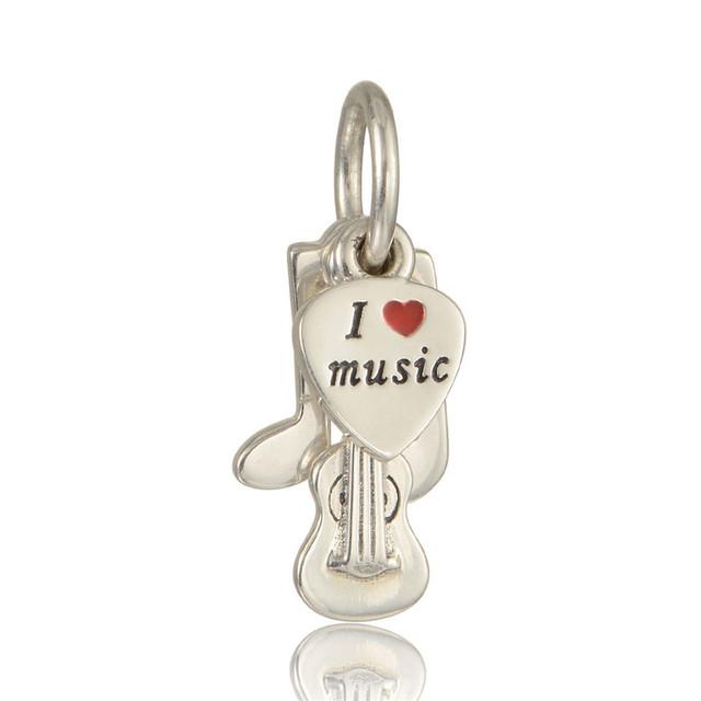Чистый 925-Sterling-Silver ювелирные изделия музыка троица болтаться плавающей бусины подходит пандора браслет DIY женщины ювелирных изделий