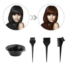 4pcs/Set Black Plastic Salon Hair Dye Set Kit Hair Color Brush Comb Mixing Bowl Tint Tool(China (Mainland))