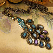 2015 New  Antiqued  Peacock Multi Sequin Long Necklace Statement Jewelry For Women Best Gift(China (Mainland))