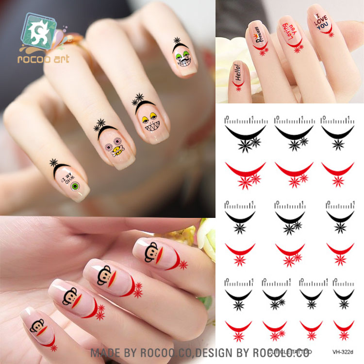 VH322d/Black/Gold/Red Cuticle Temporary Tattoo Nail Edge Stickers Water Transfers Nail Tattoo Sticker(China (Mainland))