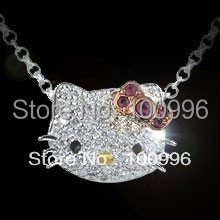 Lovely Hello Kitty Jewelry With Pink Bow Crystal Rhinestone Hello Kitty Necklace Pendants For Women gift HT-1010(China (Mainland))