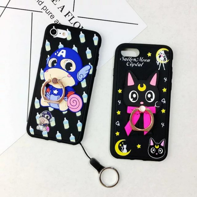 Cartoon Bear superman Monkey silicone soft Case for Iphone 7 7plus SE 5 5s 6 6S plus phone case with metal ring support Lanyard