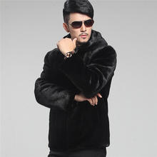 Parka Black Mens Coat Jacket Faux Mink Fur Furry Short Winter Warm Boy Outerwear 007(China (Mainland))