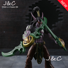 Hot Sale WOW Figure Model Toy Hand-done for wow Demon Hunter Illidan Stormrage Classic Action Figure Toys 18cm With Original Box