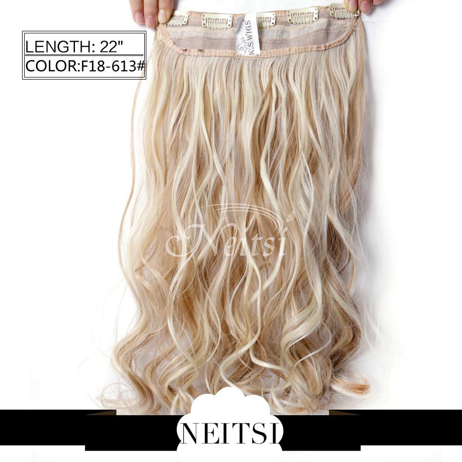 Neitsi 1 110g 22 3/4 5clips F18/613 # Kanekalon  Curly hair clip ins yestar hair 1 5clips dip 5clips 110g 60 16colors gh013