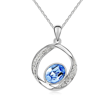 New arrival Fashion Women Jewelry Classic Necklace Platinum Gold Plated Genuine Austrian Crystal Round Pendant Necklace