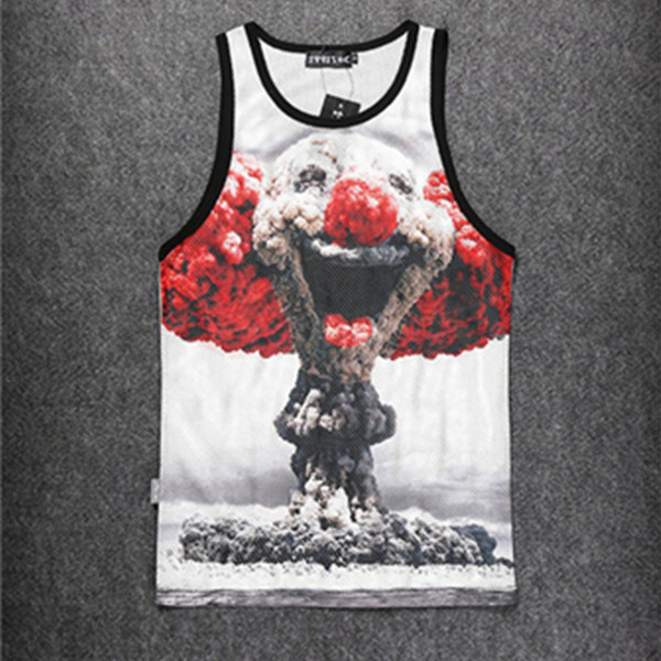 Fashion men/women's tank top 3d print vest street hip hop volcano clown tank tops men fitness summer clothing casual sports tee(China (Mainland))