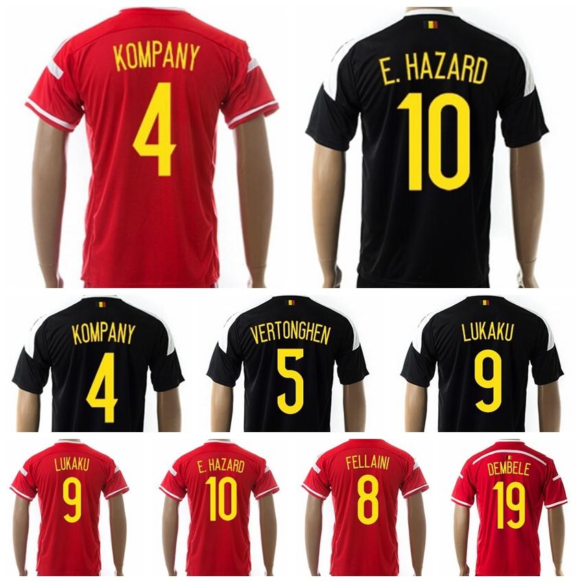 Soccer Belgium Jersey 2015 2016 Eden Hazard Vincent Kompany Lukaku De Bruyne Vermaelen Fellaini Football Shirt Kits Red Black(China (Mainland))
