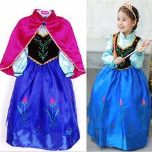 New Elsa Princess Girls Costume Party Fancy Snow Freeze Queen Cape Dress 100% Top Good