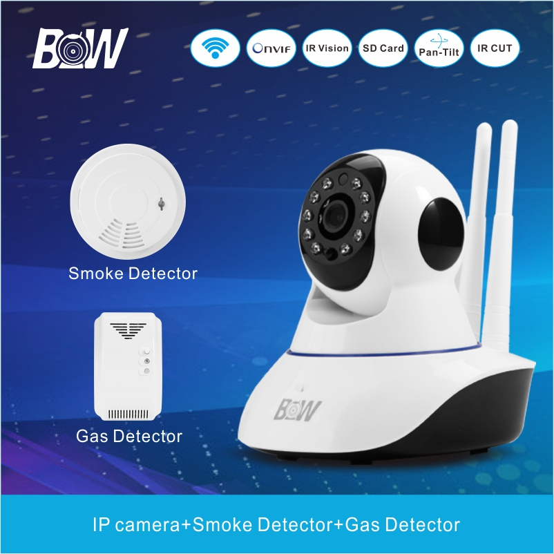 Фотография Infrared 720P Night Camera IP Network With Smoke Detector Gas Detector CCTV Security Alarm System Surveillance Camera BWIPC02D