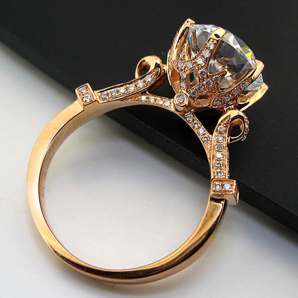 Top Luxury Solid 18K Rose Gold Ring 3CT Solitaire Synthetic Diamond Engagement AU750 Ring Rose Gold 18K Bridal Jewelry(China (Mainland))