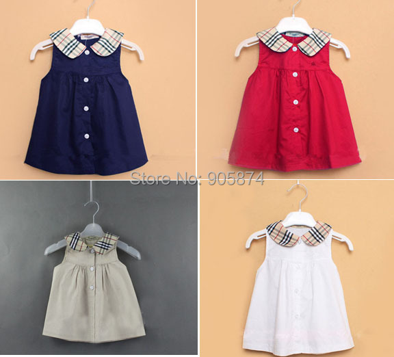 red blue white Brand casual infant Baby girl cute summer plaid dress, baby sleeveless princess party dress 6-24months  -  MixKelly Children Clothes Center store