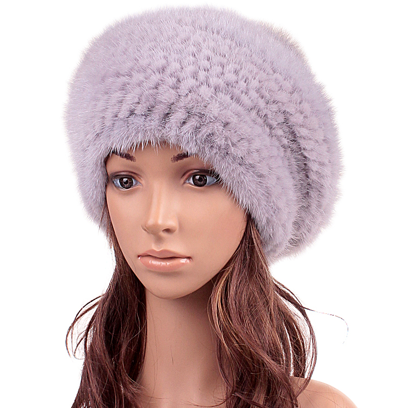 Winter Hat For Women New Real Fur Hat Girl Beanie Lovely Cap Knitted Mink Fur 2016 New Gift Fashion Russian Hat Beanies(China (Mainland))