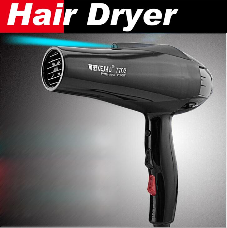 New 2015 hair dryer Black professional blow dryer Hot and cold wind 2300W 2.4M + 2 free nozzles free shipping()
