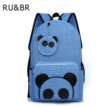 Buy RU&BR New Backpack Solid Color Laptop Canvas Backpack Fashion Cartoon Printing Travel School Bags Teenage Girls for $17.51 in AliExpress store