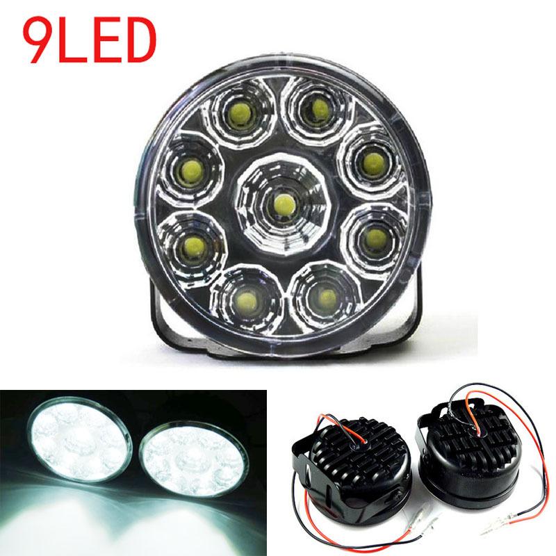 1PCS 9 LED Round Daytime Driving Running Light DRL Car Fog Lamp Headlight White Discount 50 Size 70 x 45mm(H*D)(China (Mainland))