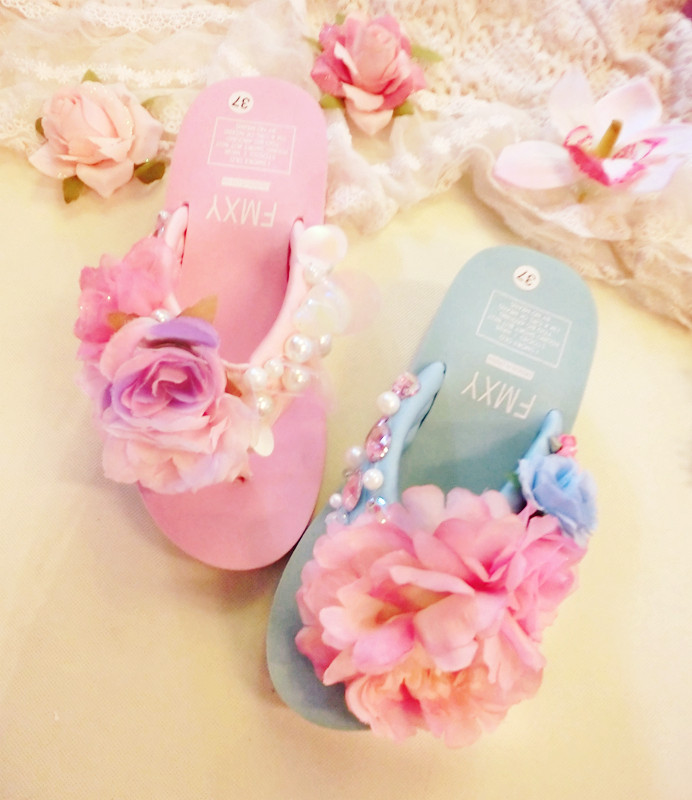Flower handmade flower candy pink is green flower paillette rhinestone pearl beach platform wedges sandals(China (Mainland))