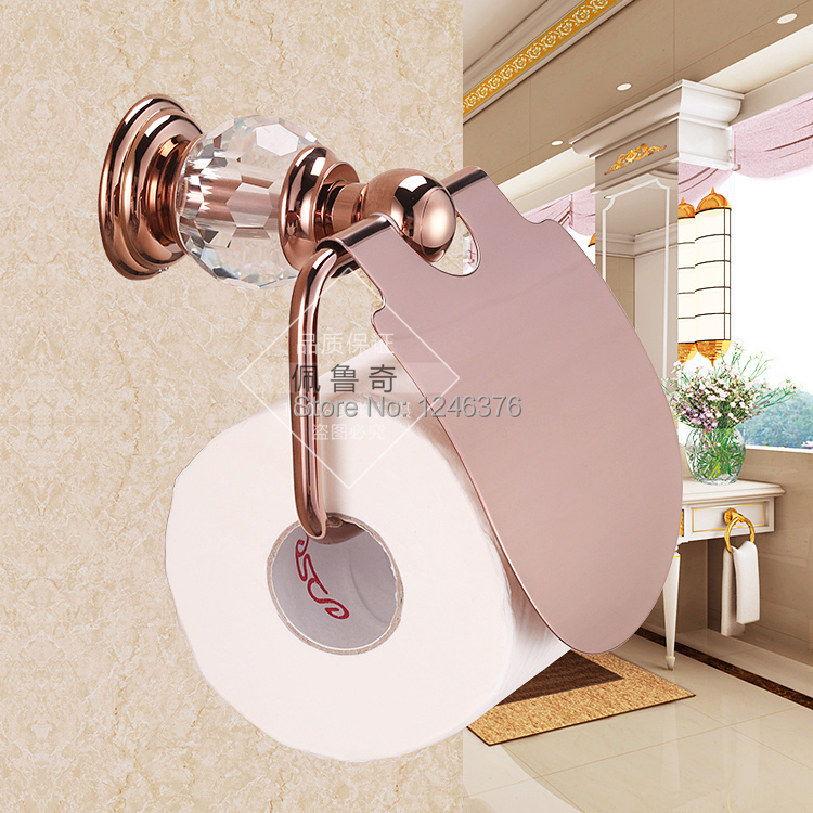 Bathroom Accessories Luxury Crystal Brass Rose Gold