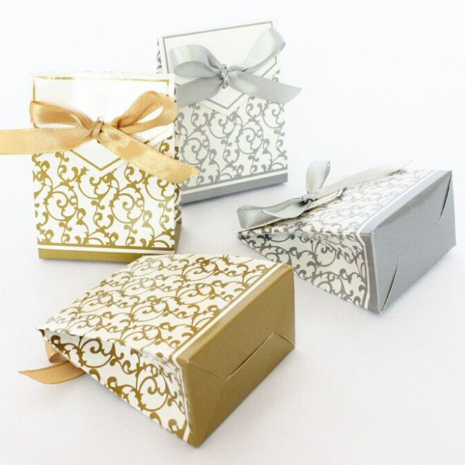 Gold Wedding Gift Bags : 50pcs Gold Ribbon Gift Paper Bags Engagement Anniversary Wedding ...