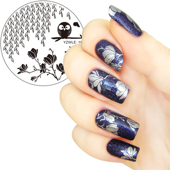 YZWLE 1 Pc 5.5cm Round Nail Art Stamp Stamping Plates Template Owl Switchgrass Flower Design Image Plate Stencil for Nails