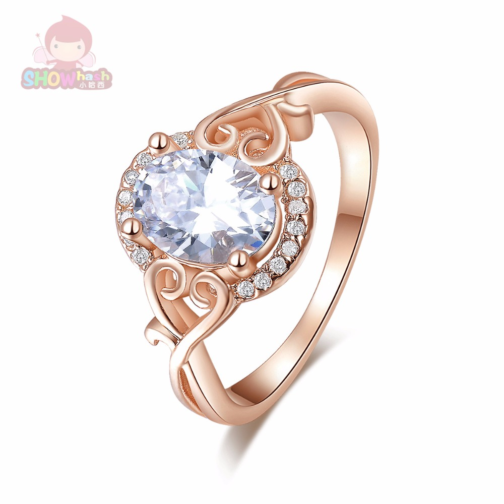 Hot Seller Rose Gold Color Platinum Plated White Zircon Romantic Engagement Beautiful Round