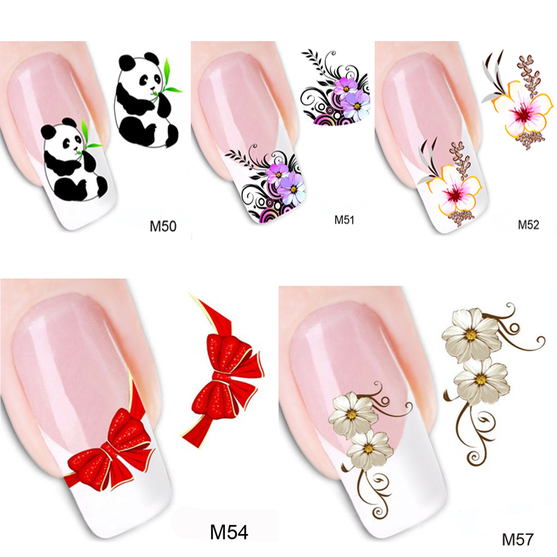5PCS Nail Art Water Decals Flower Panda Stickers For Nails Tip Decoration French Nail Art Design Water Transfer Stickers(China (Mainland))