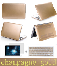 two gifts notebook sleeve laptop case Frosted matte gold pro 13 15 air 11 13 retina 13 15 protective shell for macbook (China (Mainland))