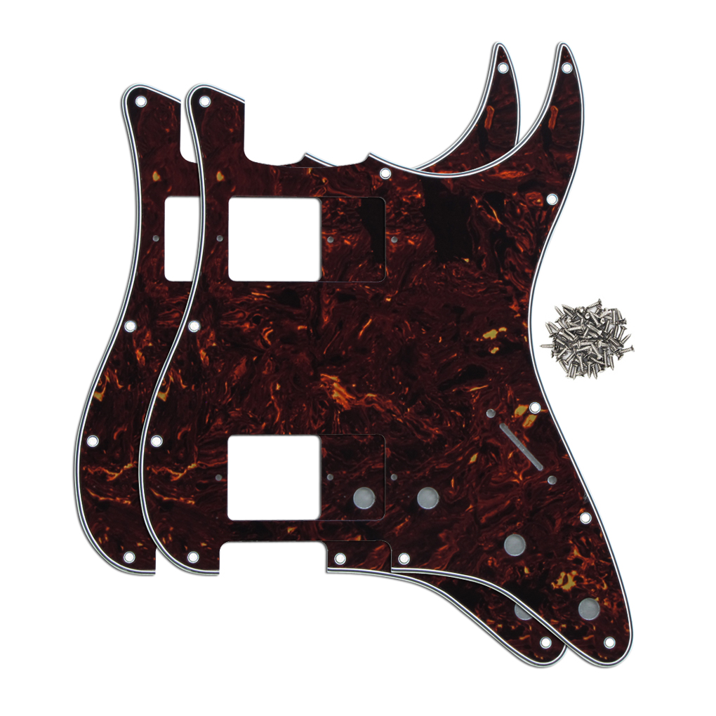 2pcs Brown Tortoise Shell 4Ply ST Pickguards HH Strat Guitar Pickguards 11 Holes with Screws for FD Strat Guitar(China (Mainland))