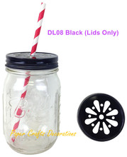 10pcs (Lids Only) Black Regular Mouth Daisy Cut Drinking Mason Jar Lids For Straws or Teal lights Wedding Birthday Party Favors(China (Mainland))