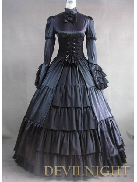 Black Ruffle and Bow Masquerade Gothic Ball Gowns Eastlake Antique Victorian Dresser(China (Mainland))