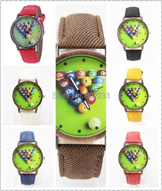 2014 New Arrivals Retro Billiard Ball Wrist Watch Cloth Pasted Leather Strap 9 Colors(China (Mainland))