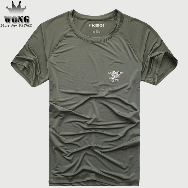 Mens Quick Dry T Shirt Outdoor 2015 New Army Fans Genuine Polyester Short Sleeve T-Shirts U.S. Navy Seals Shirt Tops(China (Mainland))