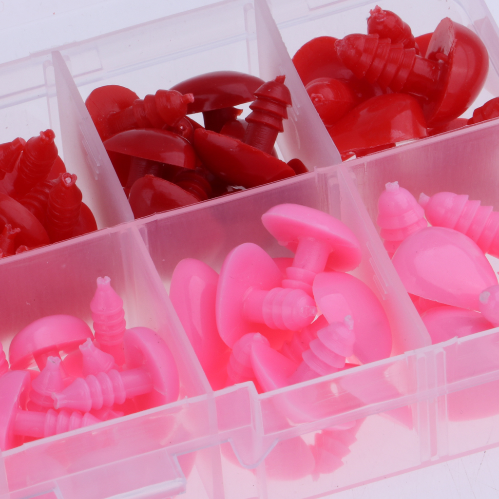 130 Pieces 8-16mm Plastic Safety Noses For Teddy Bear Animal Puppet Toys Crafts Doll DIY Making Accessories