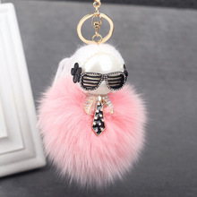 2016 New Gift Cute Bling Rhinestone Fox Real Rabbit Fur Ball Fluffy Keychain Car Key Chain Ring Pendant For Bag Charm Hotsale(China (Mainland))