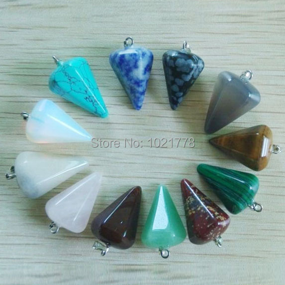 Wholesale 12pcs/lot Fashion Assorted Natural Stone Pyramis Shape charms Pendants For DIY Necklace jewelry making free shipping(China (Mainland))